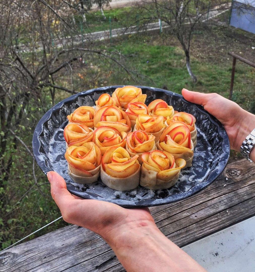 Пирог розы из яблок рецепт